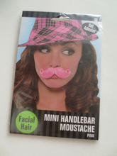 Warm Welcomed Beautiful mini handlebar moustache with pink