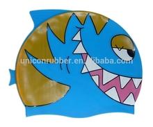 sun protection silicone design your own swim cap for kids,printable waterproof fish shape swim cap UN-0604