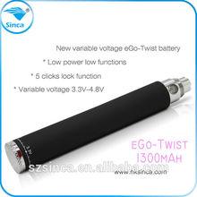 2014 most popular hot sale e cigarette ego twist battery 1300mah e cig ego twist e cig mouthpiece