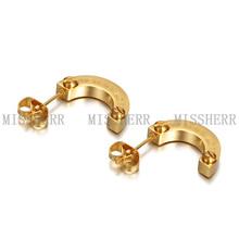 Hot selling Half Round PVD Gold Steel Hoop Earrings MKE008STGC