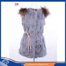 Long Style Real Lady Fashion Rabbit and Raccoon Fur Vest