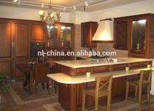 Hot selling high gloss Mediterranean style cherry,maple,teak, rubber wood kitchen furniture