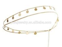 H794-072 fashion fancy decorative coin handmade gold chain headbands for girl