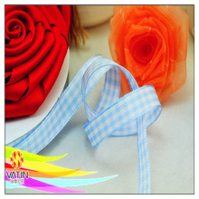 Alice blue with beautiful printed plaid ribbon for cloth garment decoration
