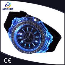 2014 Women Silicone Wristwatches LED Watches Quartz Rhinestone Geneva Watch Fashion School Girl Shiny