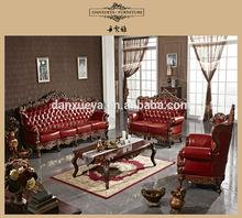 luxury carved office leather sofa set , hotel sofa set , living room sofa set