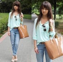 Women's V Neck Long Sleeve Dipped Hem Blouse,Ladies Casual Shirt Pocket Tops