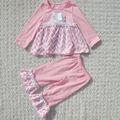 Recém-nascido outono coleção top& conjunto calça pink baby girl outfit