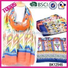 2015 Newest spring women polyester multi-color chevron pashmina scarf