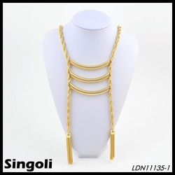 Latest 2014 necklace new long twist gold chain design for men