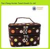 China Supplier Fashion Polka Dots Pattern Double Layer Dual Zipper Women''s Cosmetic Makeup Bag Toiletry Bag Handbag Organizer