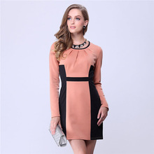 Slim and elegant stitching hit color dress,online shopping