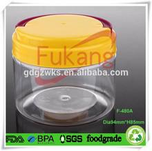 16 OZ Pet Bottle Handle,Clear Round Plastic Food Jar With Lid,Pet Bottle Transparent Shrink Wrap Label