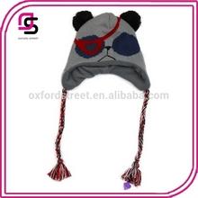 animal earflap fleeced lined hat knit trooper trapper hat