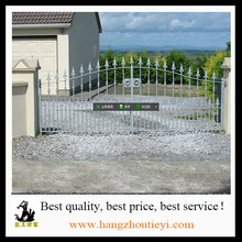 Spear top iron privacy gates entry gate wide dual swing
