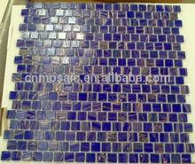 golden line blue glass mosaic swimming pool tile