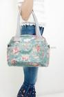 fashionable flowers printing waxed canvas ladies hobo handbag