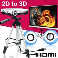 Newest 2014 HDMI USB TF Pico FULL HD 1080p DLP Mini LED 3D Projector with Screen/Tripod/Cute Speaker 5