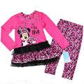 13189 venta caliente 2014 otoño nuevas chicas manga larga minny de dibujos animados de impresión de color rosa de la camisa y pantalón conjunto de dos piezas