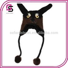 winter earflap hat dark color long ears Earflap Hat