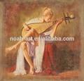 hermosa chica del sexo pintura al óleo de la reproducción de instrumento musical