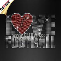 Love Football Studs Rhinestone Hot fix Heat Press Transfer Designs