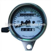 Universal Motorcycle Dual Odometer Speedometer Gauge Test Miles Speed Compact
