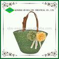 atacado barato decorativos de palha de milho saco de praia saco 2014 alça de couro bolsas de palha para a mulher