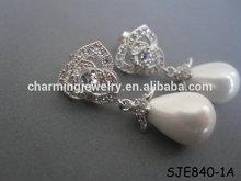 Fancy Sparkly Crystal Rose Post Pearl Drop Earrings