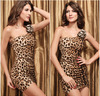 2015 tight leopard halter neck folds fashion princess sexy dress