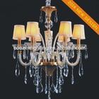 GZ40192-6P fabric lampshade crystal large size pendant lamp