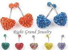 Shamballa Heart Shaped Crystal Ferido Belly Navel Rings