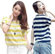 mulheres de manga curta casual modelos chiffon listrado blusas