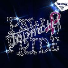 Bling rhinestone motif paw pride iron on breast cancer rhinestone transfer appliques