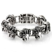 Stainless Steel Huge Men's King Lion Head Motorcycle Bike Chain Bracelet