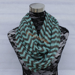 Chevron Infinity Scarf mint and black Eternity Loop