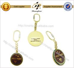 Good quality round shape gold plated fashion metal epoxy keychain