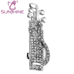 Silvertone Rhinestone Golf Bag with Clubs Brooch Pin Breastpin Clip Fashion Jewelry