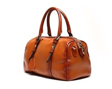 abt6378 fashion vintage brown cow leather custom tote bag handbag for women