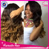 Hot sale body wave ombre color cheap 100% human hair lace front wigs with bangs remy full lace wig with baby hair