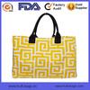 Yellow Greek Pattern Print Shopping Tote Bag Lady Women Tote Bag Factory