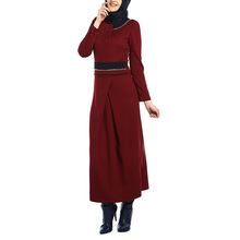 2014 Women new wholesale islamic clothing deep red dress muslim ladies latest designs 2014 dubai abaya supplier