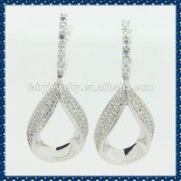 925 silver big hoop AAA white zircon big hoop earrings colored big hoop drop earrings