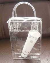 Custom size logo pvc toiletry bag with handle vinyl bag