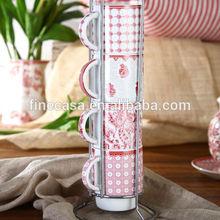 8OZ Elegant Style Fine White Porcelain Coffee Mug Set with Metal Rack of Oriental Manor