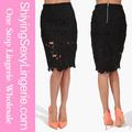 las mujeres negro lápiz de ganchillo falda 2014 venta al por mayor