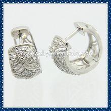 925 silver small hoop AAA white zircon hoop earrings self piercing hoop earrings