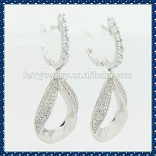 925 silver big hoop AAA white zircon big hoop earrings colored hoop drop earrings