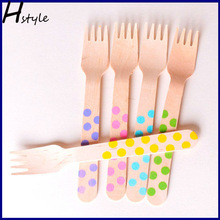 Spotty Wooden Forks Party Tableware SC013