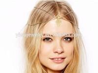 H794-073 fashion fancy decorative disc coin handmade gold chain girl's Headbands